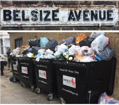 overflowing bins in belsize avenue n13